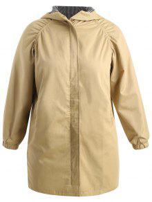 بالاضافة الى حجم مقنعين معطف طويل - أسمر 4x