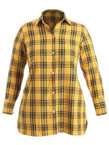 لونغ لاين منقوشة بالاضافة الى حجم القميص - أصفر فاقع 3x