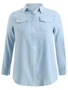 قميص طويل الأكمام - جينز ازرق 2x