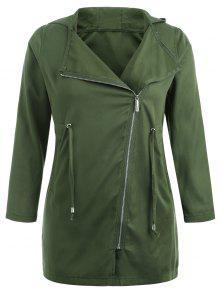 زائد الحجم غير المتماثلة زيبر معطف مقنع - الجيش الأخضر 2x