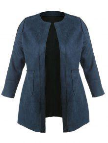 معطف مفتوح من الأمام - الطاووس الأزرق 3x