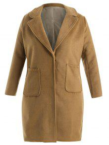 بالاضافة الى حجم الصوف مزيج جيب معطفا - البني الفاتح 3x