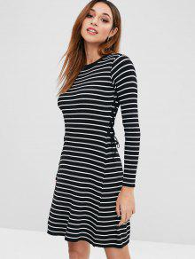 2019 Striped Lace Up Sweater Dress In BLACK ONE SIZE  a6ef6b05f
