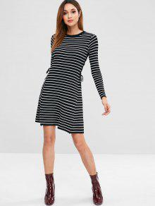 ... Striped Lace Up Sweater Dress. outfits Striped Lace Up Sweater Dress - BLACK  ONE SIZE 749db2ae6