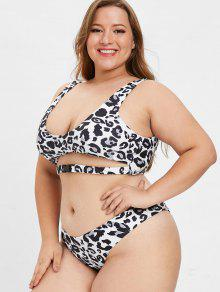 bec641d06a 41% OFF] 2019 ZAFUL Plus Size Leopard Buckle Bikini Set In WHITE | ZAFUL