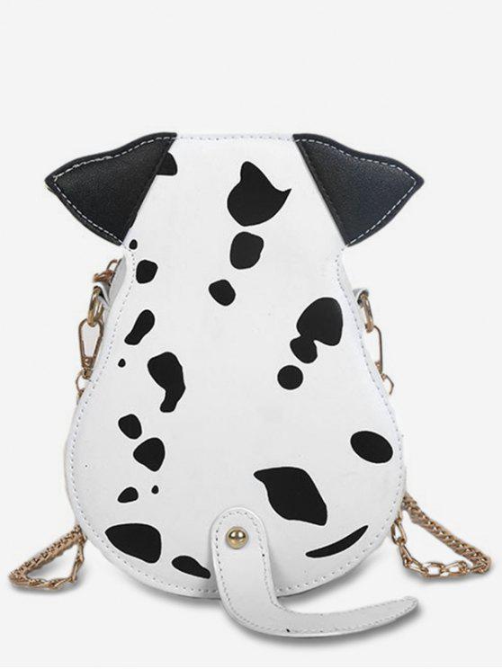 women's Cartoon Puppy Pattern Crossbody Bag - WHITE