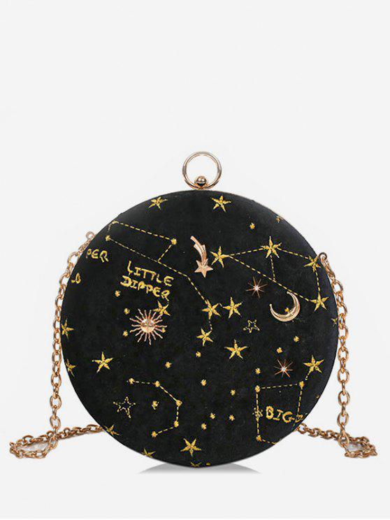 ladies Embroidery Star Round Shape Crossbody Bag - BLACK
