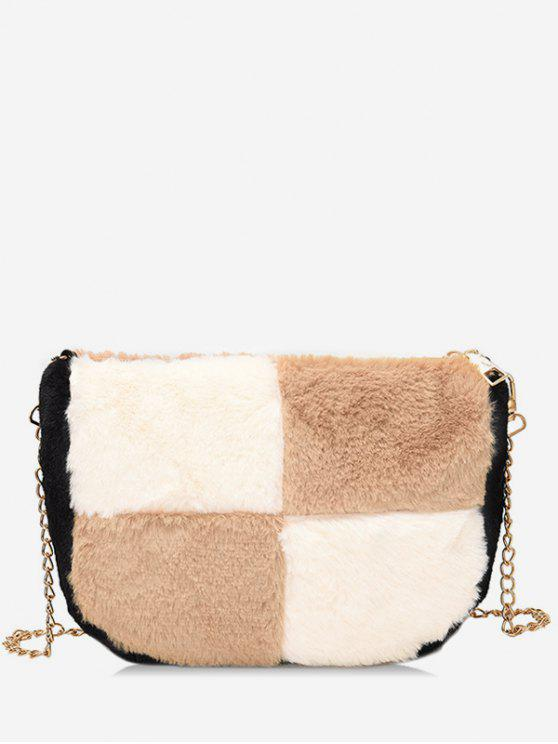 lady Panel Faux Fur Chic Crossbody Bag - LIGHT KHAKI