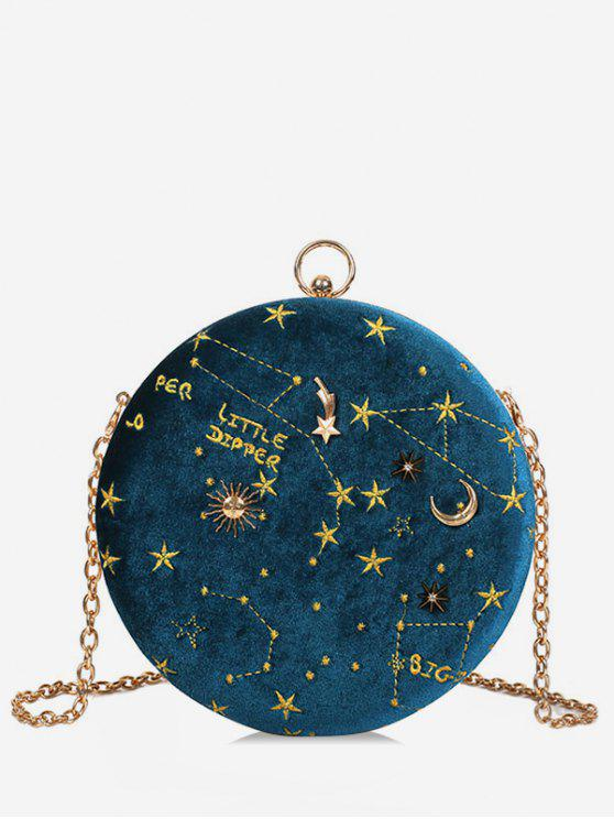 best Embroidery Star Round Shape Crossbody Bag - BLUE IVY