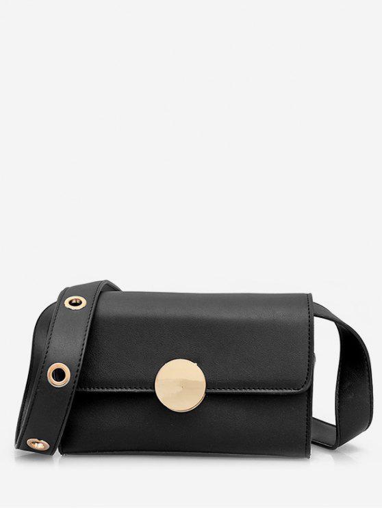 online Minimalist Round Metal Crossbody Bag - BLACK