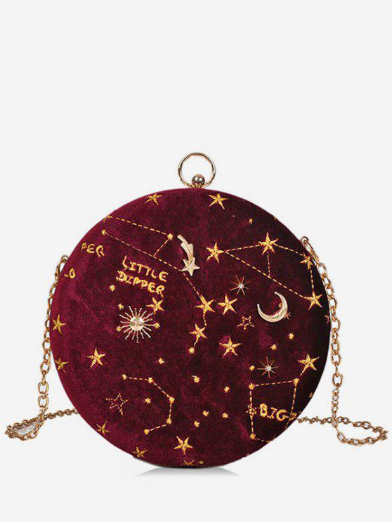 new Embroidery Star Round Shape Crossbody Bag - RED WINE