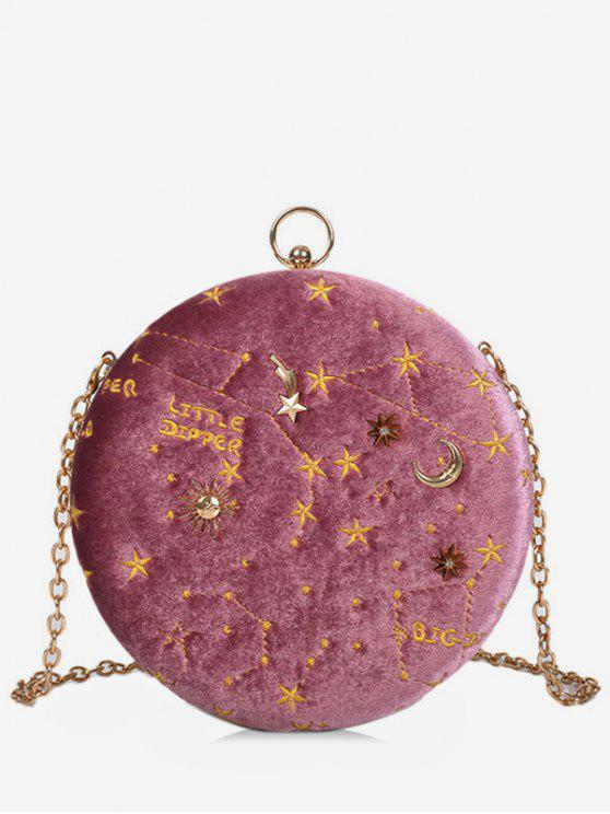 latest Embroidery Star Round Shape Crossbody Bag - LIGHT PINK