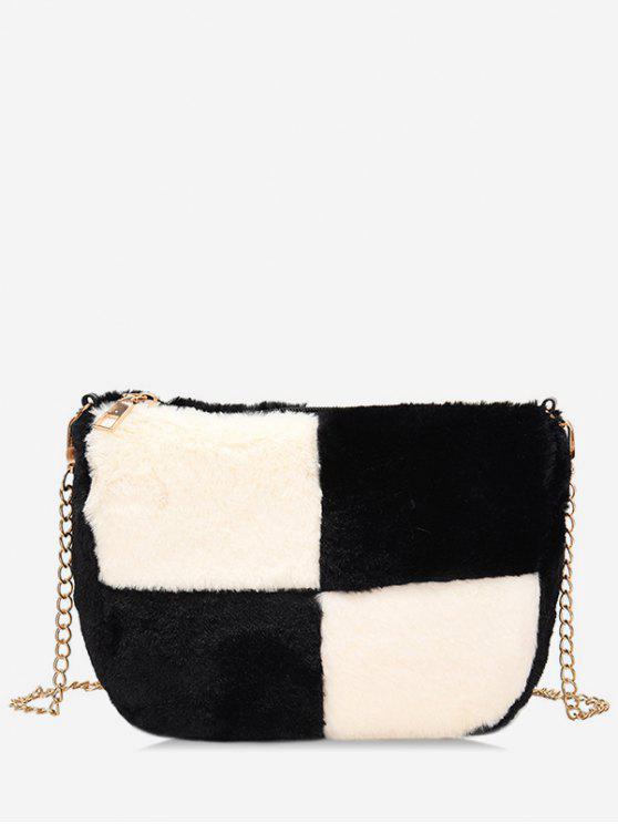 chic Panel Faux Fur Chic Crossbody Bag - BLACK