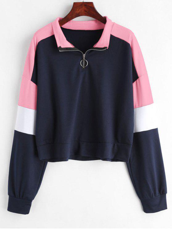 best Loose Color Block Half Zip Sweatshirt - MULTI-C L