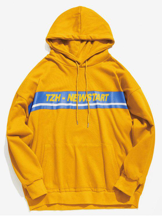 new Kangaroo Pocket Stripe Letter Hoodie - YELLOW XL