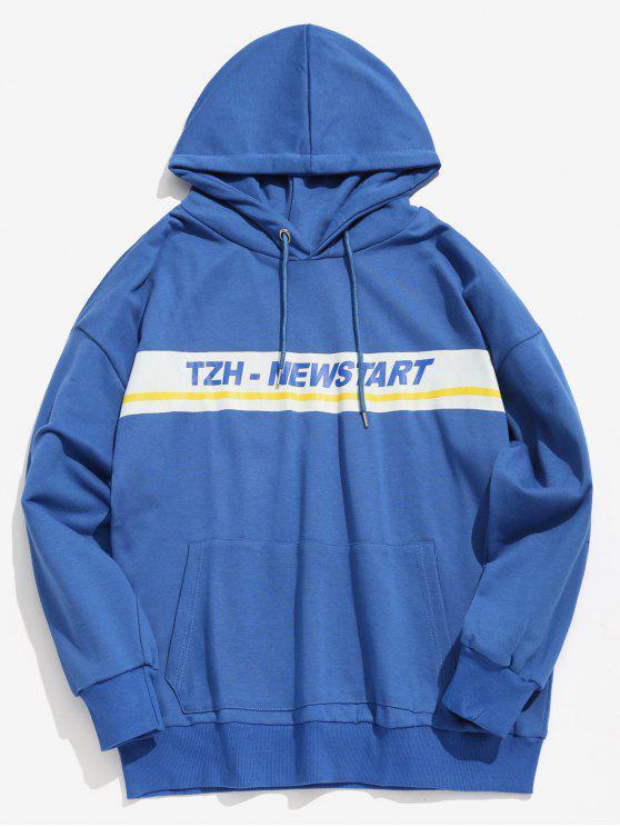 Känguru-Taschen-Streifen-BuchstabeHoodie - Blau XL