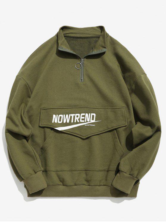 Sweat-shirt Lettre à Demi Zip avec Poche Kangourou - Vert Armée  L