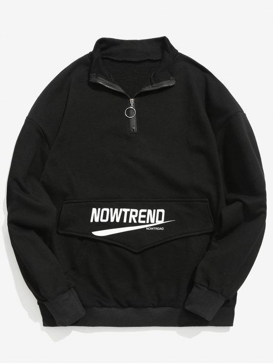 Sweat-shirt Lettre à Demi Zip avec Poche Kangourou - Noir XL