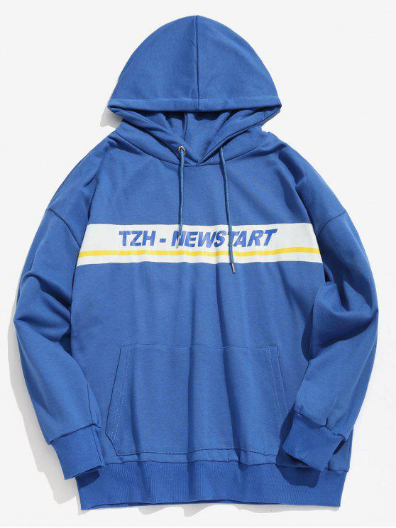 unique Kangaroo Pocket Stripe Letter Hoodie - BLUE L