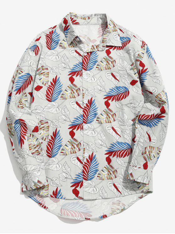 قميص الورقة المتنوعة - بلاتين M