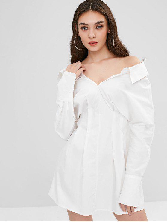 Mini vestido plisado-detalle - Blanco Talla única