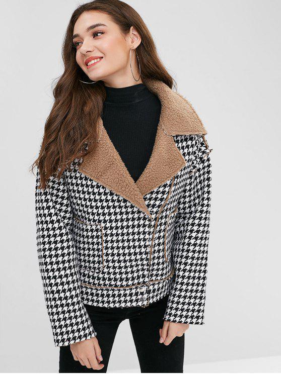 Botão de pressão Houndstooth casaco de pele de carneiro - Preto Um Tamanho
