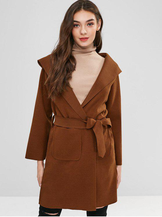 trendy Belted Hooded Wool Blend Coat - BROWN XL