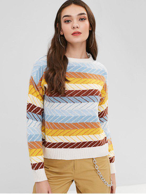 Maglione Grafico A Blocchi Di Colore - Multi Colori Una Taglia