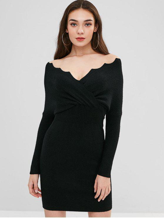 fashion Scalloped Surplice Sweater Dress - BLACK ONE SIZE