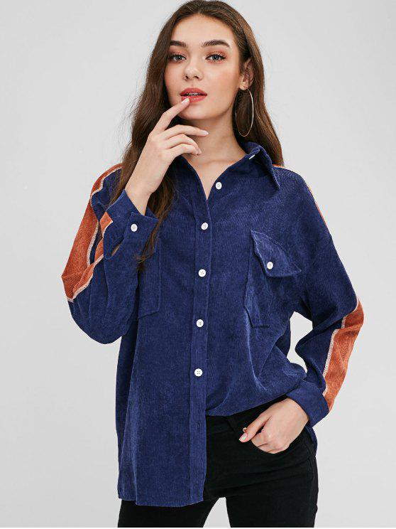 ladies Button Up Contrast Corduroy Shirt - LAPIS BLUE S