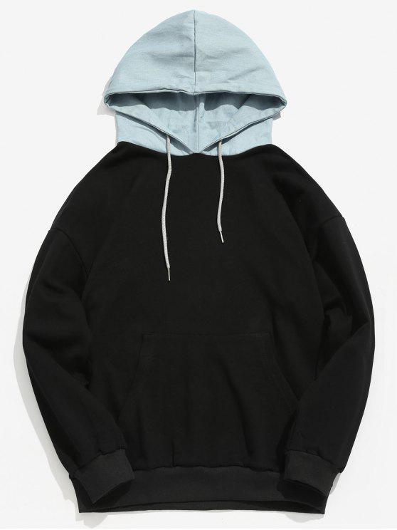 fashion Kangaroo Pocket Back Letter Denim Hooded Sweatshirt - BLACK L