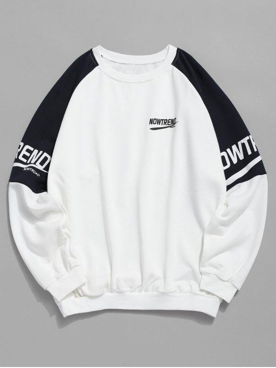 chic Letter Raglan Sleeves Color Block Sweatshirt - WHITE XL