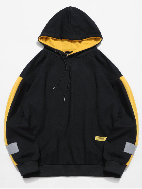 best Stripe Trim Applique Hoodie - BLACK 2XL