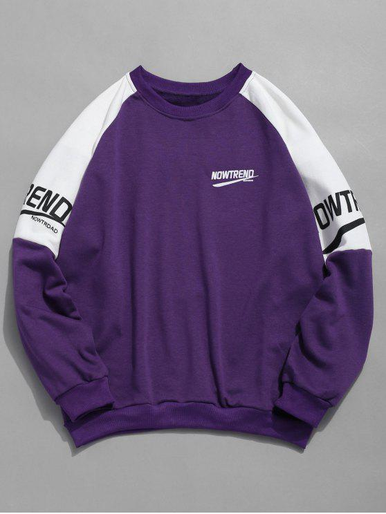 online Letter Raglan Sleeves Color Block Sweatshirt - PURPLE L