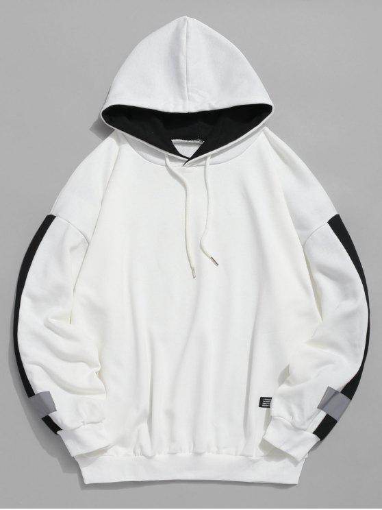 unique Stripe Trim Applique Hoodie - WHITE 2XL
