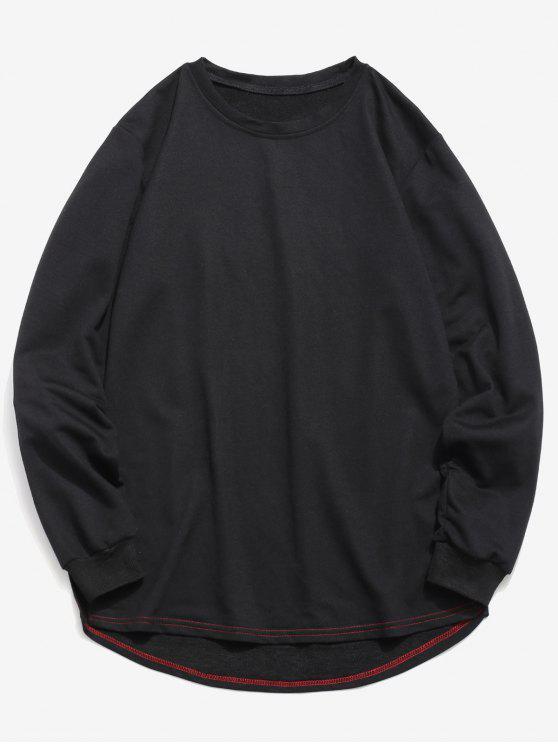 unique Solid Color High Low Sweatshirt - BLACK S