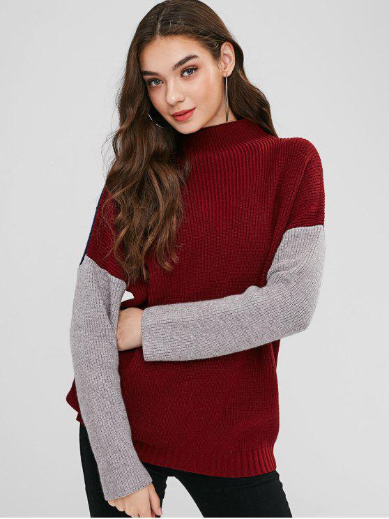 shop ZAFUL Mock Neck Color Block Sweater - RED WINE ONE SIZE