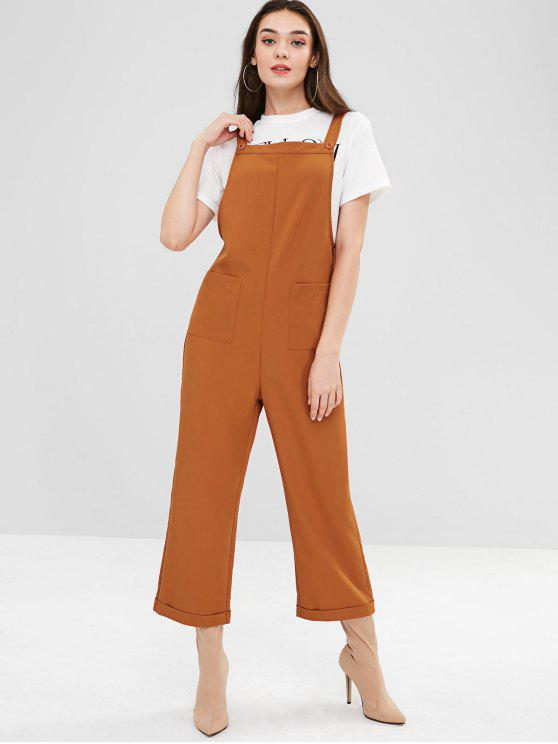 womens ZAFUL Pockets Square Wide Leg Overalls - TIGER ORANGE S