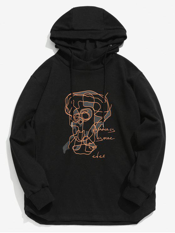 shop ZAFUL Contour Face Drawing Pullover Hoodie - BLACK M
