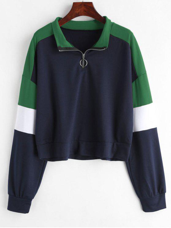 buy Loose Color Block Half Zip Sweatshirt - MULTI-B XL