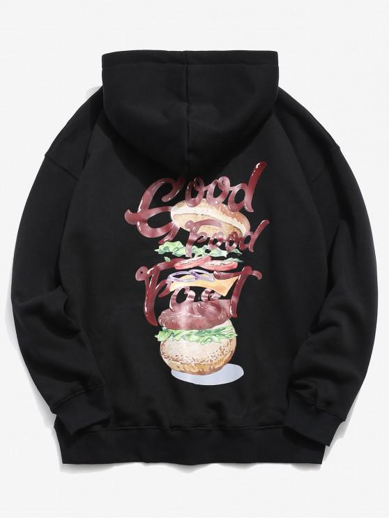 chic Hamburger and Letter Print Hoodie - BLACK XL