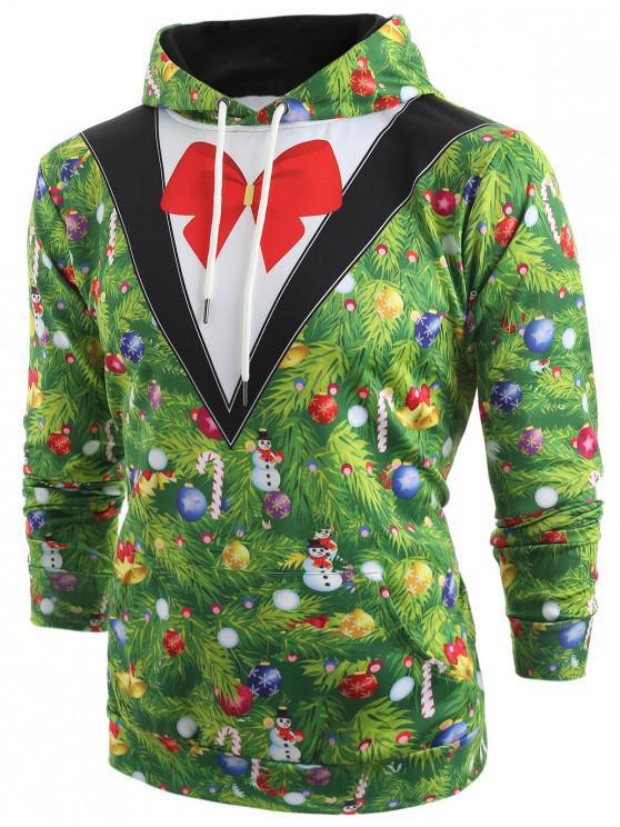 womens Christmas Tree Blazer Print Drawstring Hoodie - MEDIUM SPRING GREEN 2XL