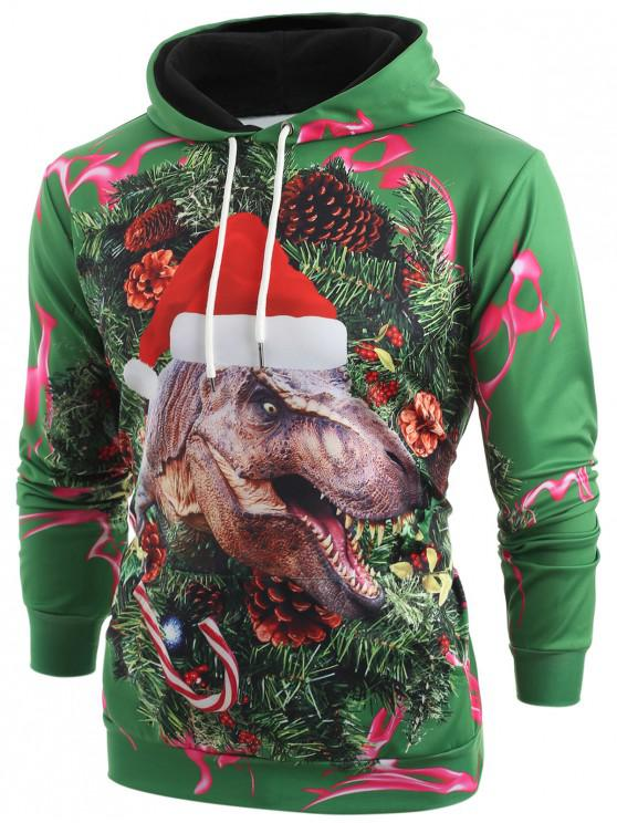 latest 3D Christmas Dinosaur Print Kangaroo Pocket Hoodie - MEDIUM SEA GREEN M