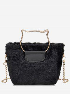 Cat Shape Handle Faux Fur Crossbody Bag - Black