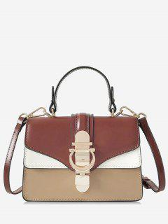 Panel Metal Embellished Crossbody Bag - Brown
