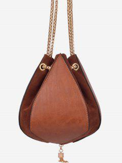 Mini Tassel String Design Crossbody Bag - Brown
