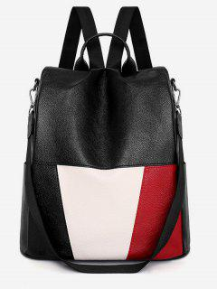 PU Leather Panel School Backpack - Black