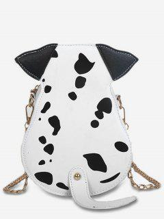 Cartoon Puppy Pattern Crossbody Bag - White