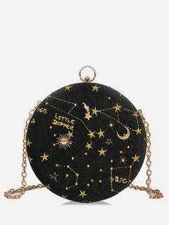 Embroidery Star Round Shape Crossbody Bag - Black