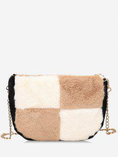 Panel Faux Fur Chic Crossbody Bag - Light Khaki